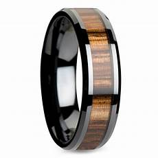 zebra inlay beveled ring in black ceramic 4mm