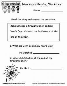 kindergarten new year s reading worksheet printable