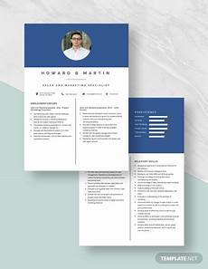 sales and marketing specialist resume template ad