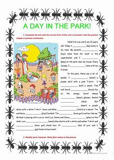 a day in the park present simple continuous worksheet