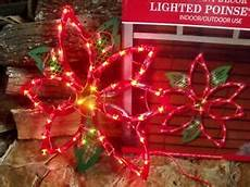 Lighted Decorations by Outdoor Lighted Poinsettia Flower Sign Window