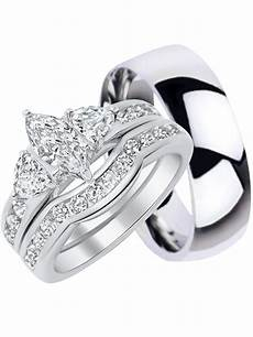 his and hers wedding ring set matching trio wedding bands for him titanium and her sterling