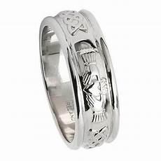 mens white gold claddagh wedding ring