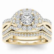 de couer 14k yellow gold 1 1 4ct tdw diamond halo engagement ring with one band diamond