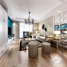 American Style Living Room Design 3d Rendering Interior