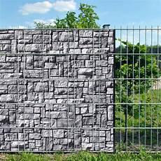 Steinlabyrinth Doppelstabmatten Sichtschutzstreifen