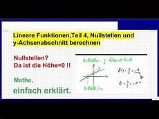 lineare funktionen nullstellen und y achsenabschnitt