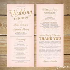 blush pink and gold wedding program printable printable