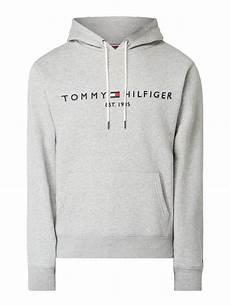 hilfiger hoodie mit logo stickerei in grau schwarz