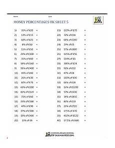 uk percentage worksheets