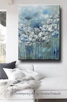 Acryl Malvorlagen Blumen Gicl 201 E Druck Kunst Abstrakte Malerei Wei 223 Blumen Blau Grau