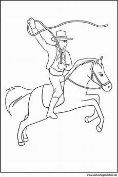 Ausmalbilder Pferde Western Malvorlage Cowboy Mit Seinem Pferd
