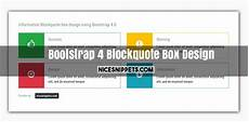 bootstrap 4 blockquote box design with html css