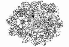 doodle blumen erwachsenen malvorlage seite fototapete