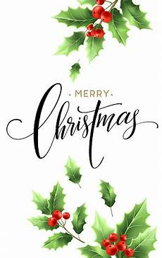 merry christmas lettering card with holly vector illustration stock illustration download