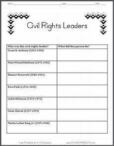 civil rights leaders table graph chart worksheet for grade