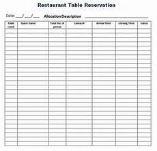 reservation log templates 10 free printable word