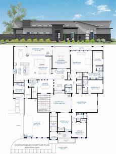modern four bedroom house plans floor plan friday 4 bedroom rumpus contemporary courtyard