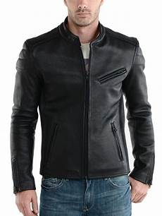 new s leather jacket black slim fit motorcycle real