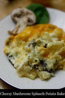 cheesy potato casserole with spinach and mushrooms