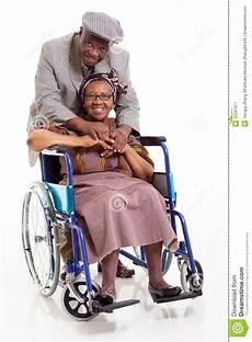disabled senior husband royalty free stock