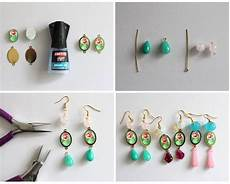 diy cabochon flower earrings jewelry from home