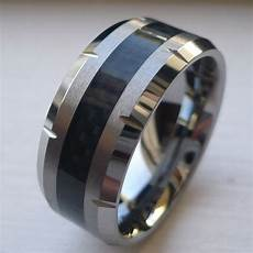 10mm men s tungsten carbide wedding band ring with black carbon fiber size 8 15 ebay