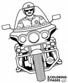 policeman on motorbike on free printable coloring page