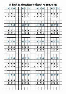 subtraction with regrouping worksheets on graph paper 10688 subtraction 3 and 4 digit with without trading borrowing on grid paper subtraction with