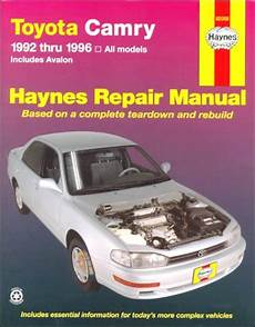 chilton car manuals free download 1992 toyota camry head up display 1992 1996 toyota camry avalon models haynes repair manual