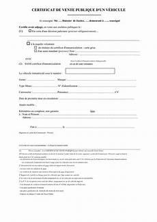 Certificat De Vente Voiture Occasion Particulier La