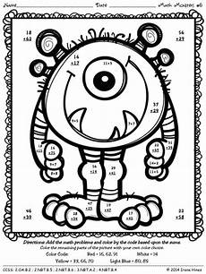 color by number addition and subtraction worksheets free 16290 addition and subtraction math and monsters on