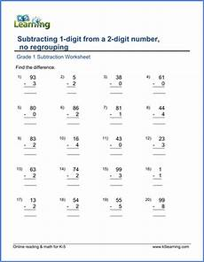 subtracting a 1 digit from a 2 digit number no regrouping