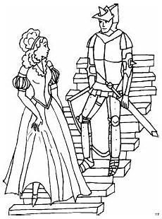 Ausmalbild Ritter Prinzessin Ritter Mit Prinzessin Ausmalbild Malvorlage Phantasie
