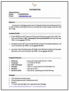 over 10000 cv and resume sles with free download b tech ece fresher resume free download