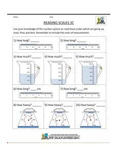 3rd grade measuring sheets reading scales sheet 3c