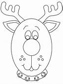 Reindeerhead Christmas Coloring Pages  Page Book
