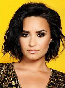 demi lovato sexy blunt one side part short lob wave synthetic hair lace front wigs afro 10