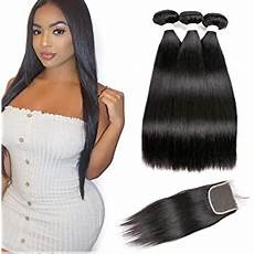 Amazon Com 3 Part Lace Closure Straight With Amazon Com Brazilian Straight Hair Bundles With Closure 3