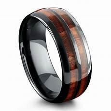 classic black polished ceramic wooden ring 8mm width northern royal llc