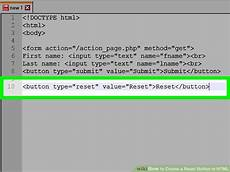 how to create a reset button in html 5 steps with pictures