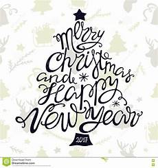 merry christmas and happy new year handdrawn lettering in the shape of trees stock vector