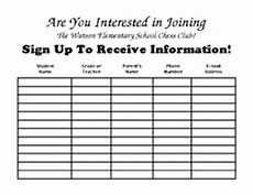 sign up sheet to receive information about the chess club