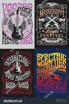 vintage rock poster t shirt design set stock vector