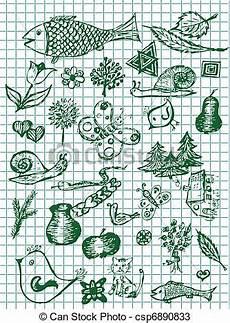 dibujos de los simbolos naturales simbolos naturales dibujados a mano en colores verdes