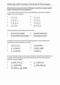 ordering decimals worksheet with answers 7343 ordering fractions decimals percentages teaching resources