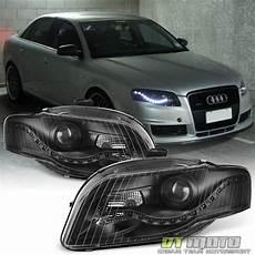 blk 2006 2008 audi a4 s4 b7 r8 style led drl halogen type projector headlights ebay