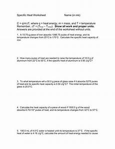 physical science specific heat worksheet 13107 specific heat worksheet