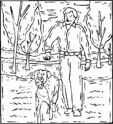mensch mit hund im wald ausmalbild malvorlage tiere