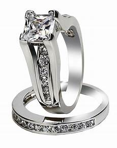 s princess cut stainless steel wedding ring size